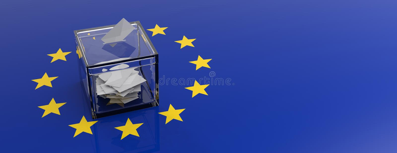 Elezione del Parlamento dell'Unione Europea Scatola di voto sul fondo della bandiera di UE illustrazione 3D royalty illustrazione gratis