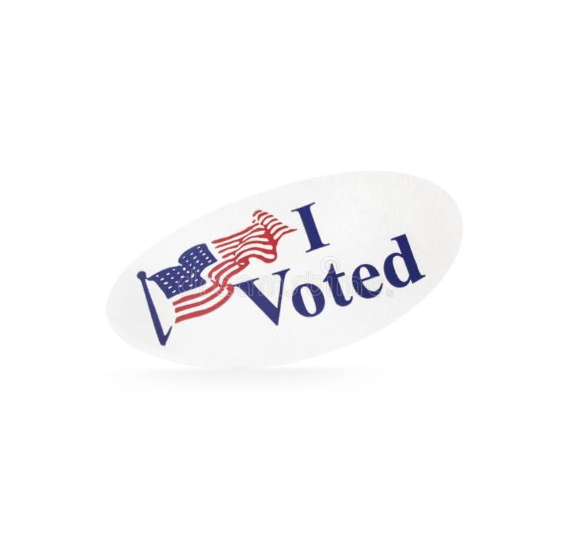 Elezione diritta ho votato l'autoadesivo immagini stock libere da diritti