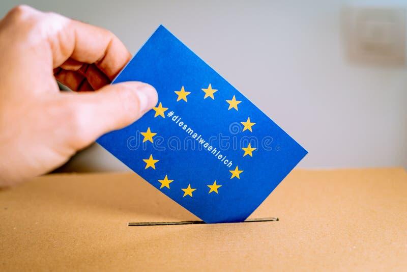 Elezione nell'Unione Europea - campagna thistimeimvoting con la versione del hashtag del diesmalwaehleich del tedesco immagini stock libere da diritti