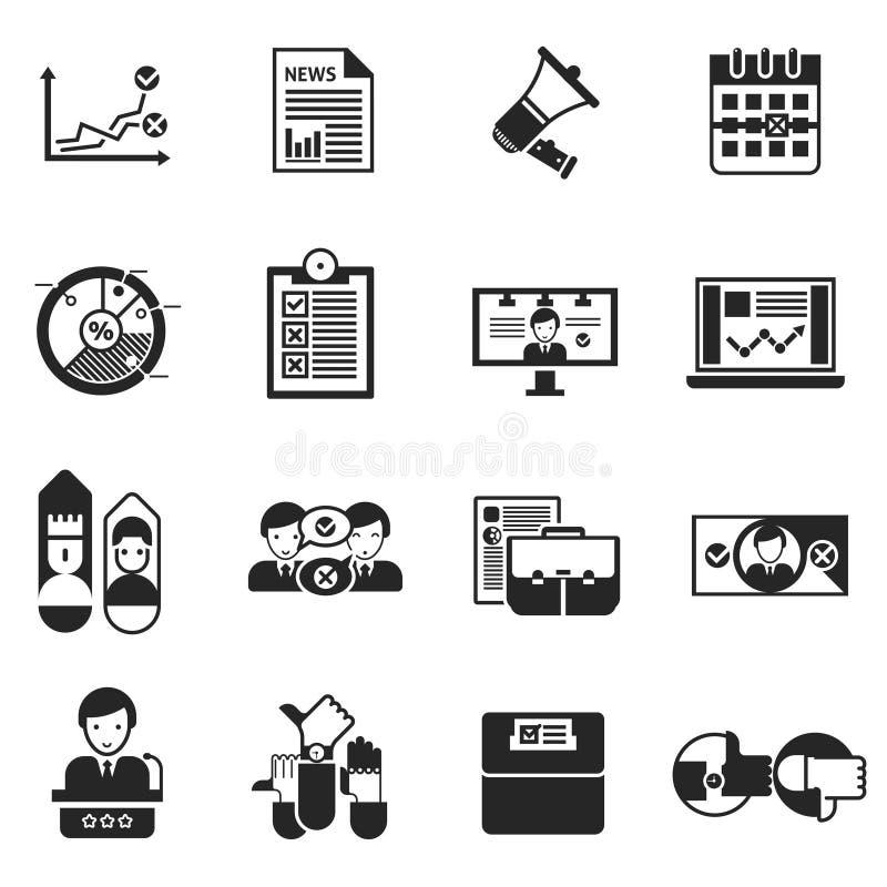 Elezioni che votano l'insieme del nero delle icone illustrazione di stock