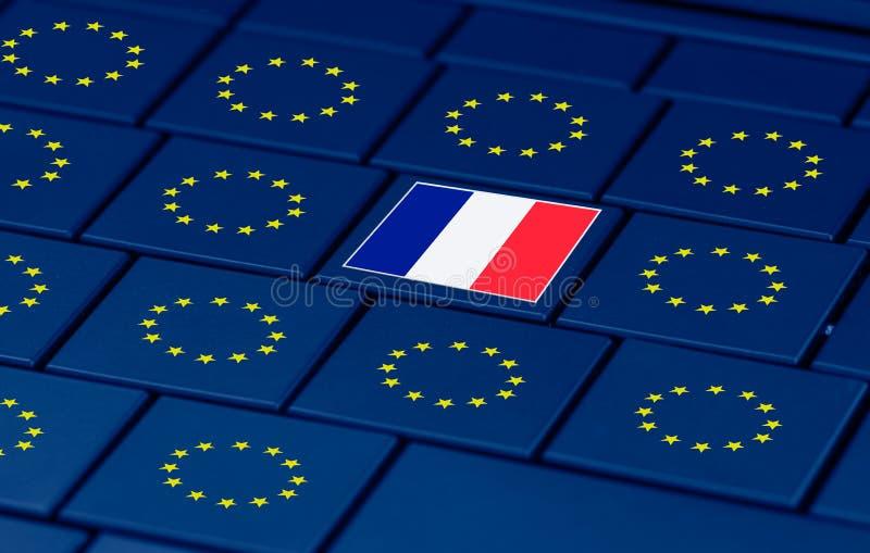 Elezioni francesi, Eu e una tastiera del pc illustrazione di stock
