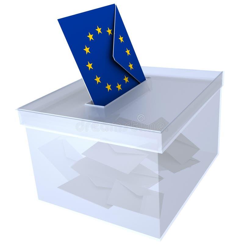 Elezioni nella busta dell'Unione Europea con il voto europeo della bandiera per il Parlamento dell'Eu - rappresentazione 3d illustrazione vettoriale