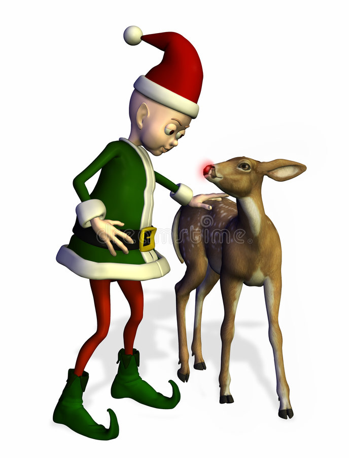 elf ścinku zawiera ścieżki Rudolph s young Mikołaja royalty ilustracja