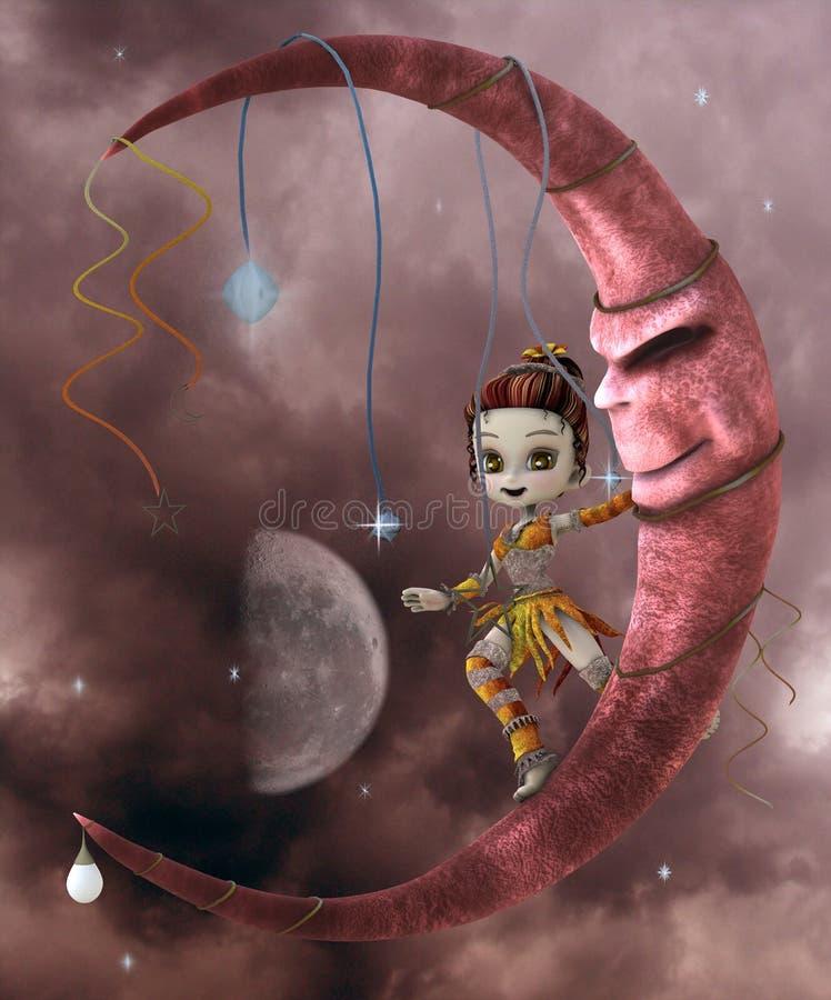 elf śliczna księżyc ilustracji
