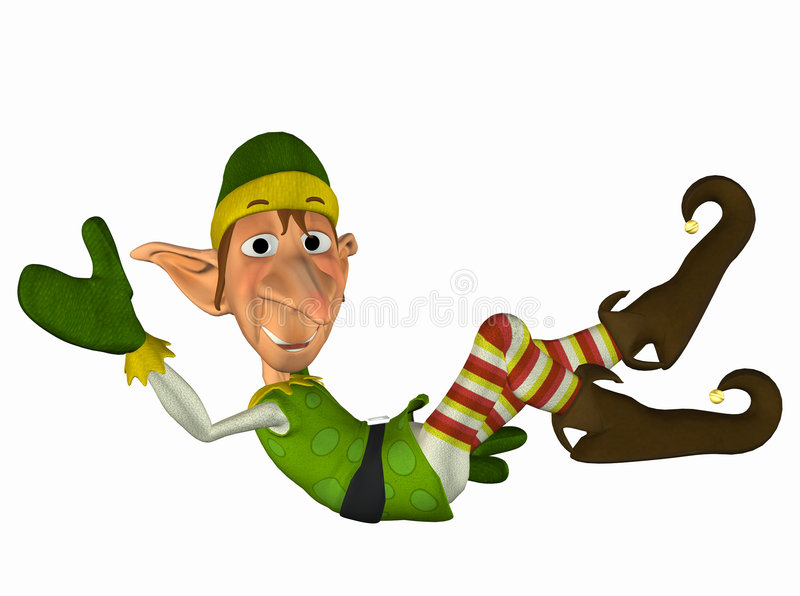 Elf . 1. Christmas Elf all dressed up lying down stock illustration