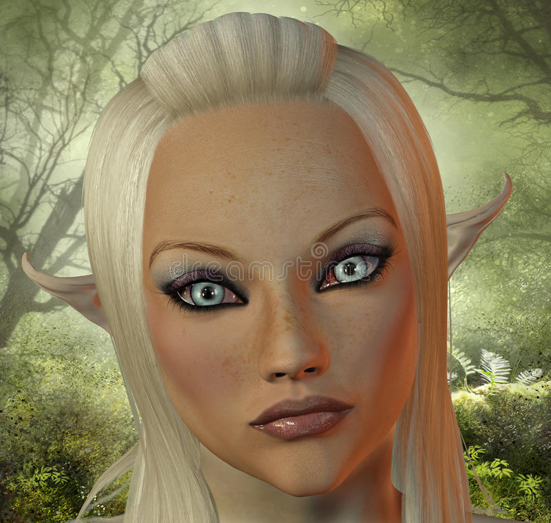 Elf. A portrait of a female elf with compelling eyes stock illustration