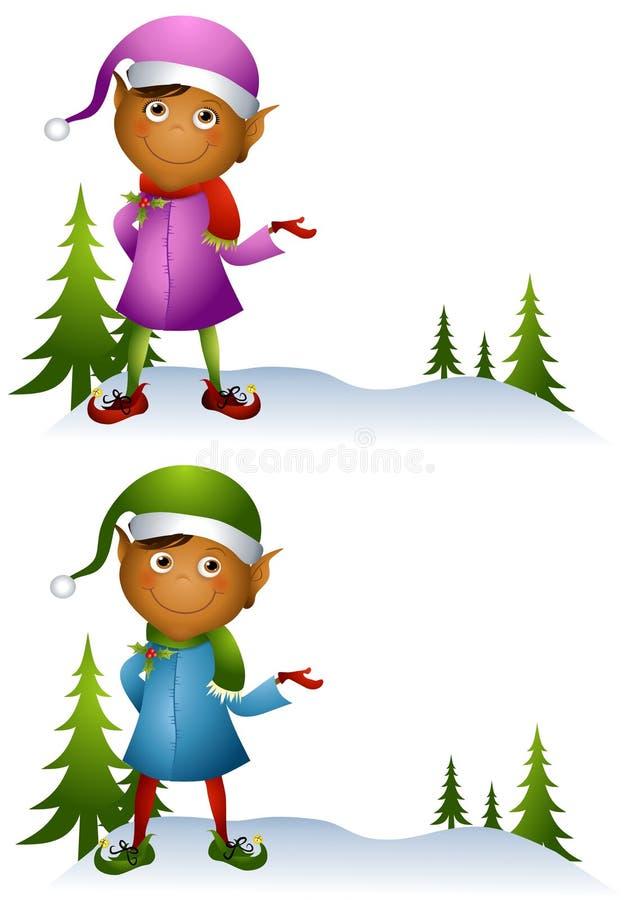 Elf 2 van Kerstmis van het beeldverhaal stock illustratie