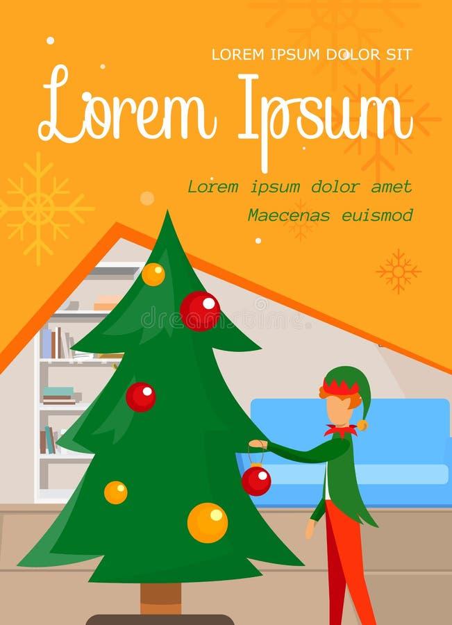 Elf adorabile in costume che decora l'albero di Natale illustrazione di stock