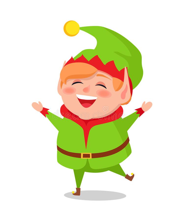 Elf allegro in vestito verde sta su una gamba e canta royalty illustrazione gratis