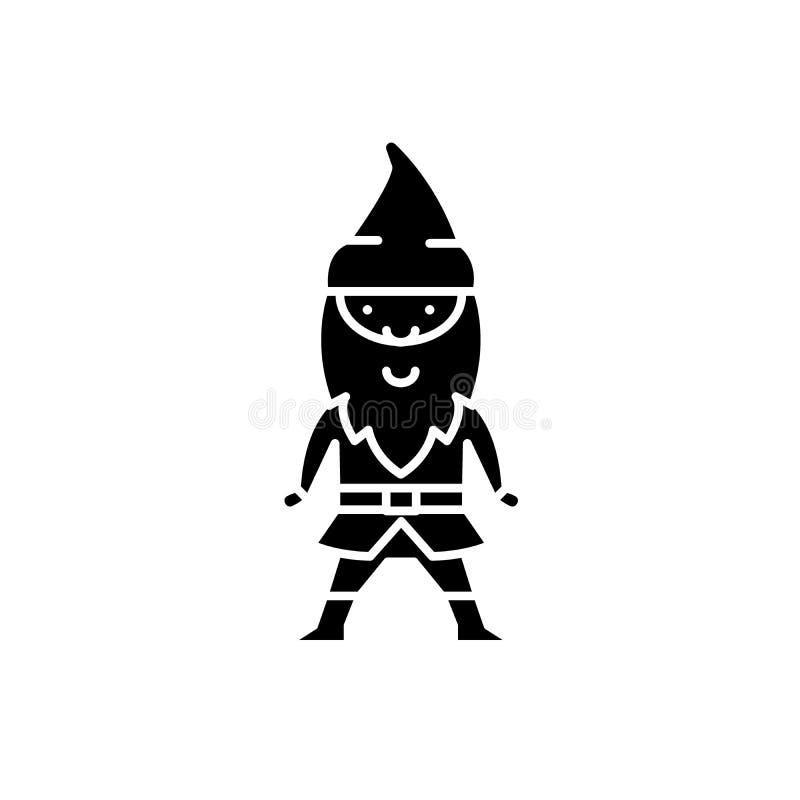 Elf black icon, vector sign on isolated background. Elf concept symbol, illustration stock illustration