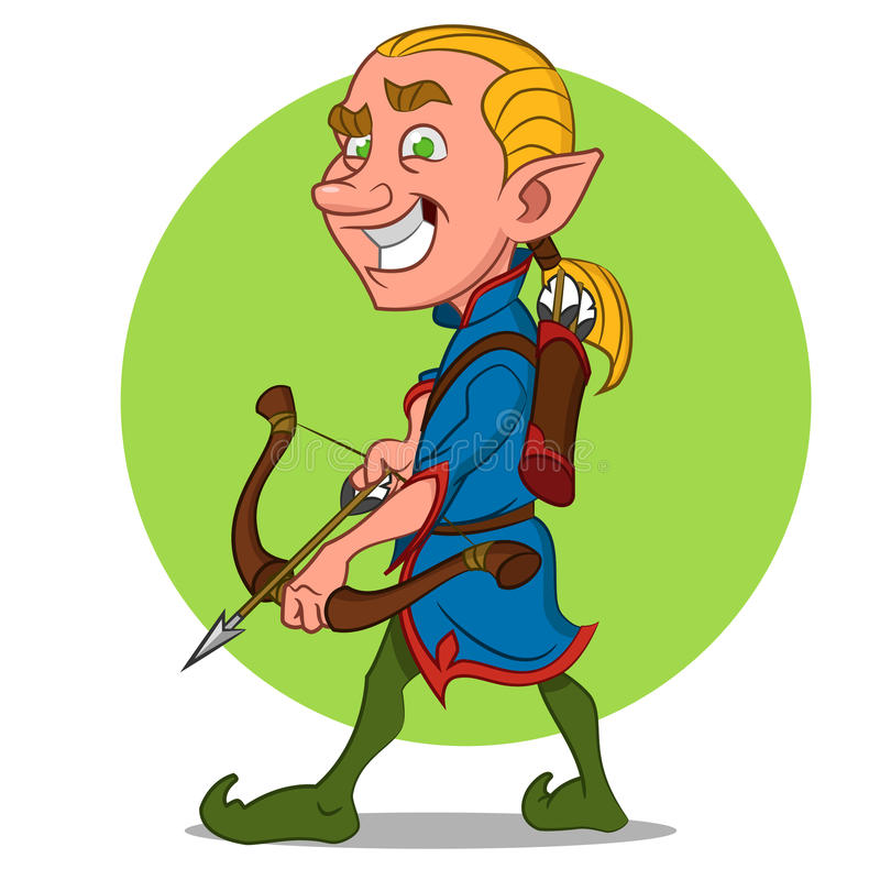 Elf with bow. royalty free illustration