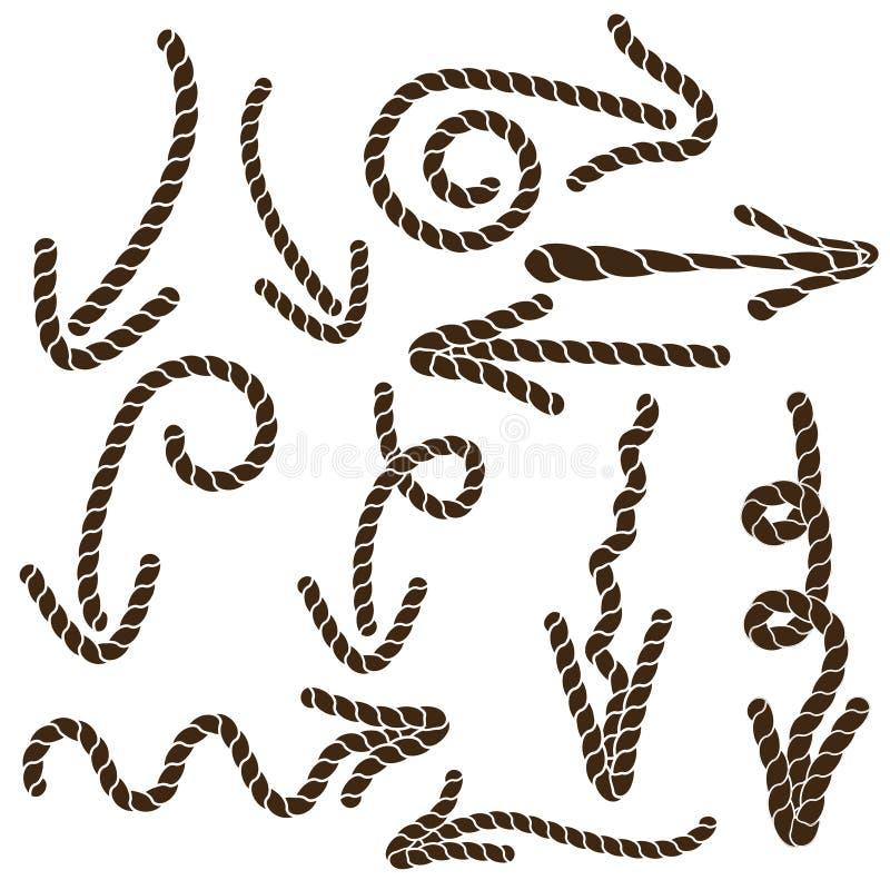 Elf bruine pijlen van de kabel royalty-vrije illustratie