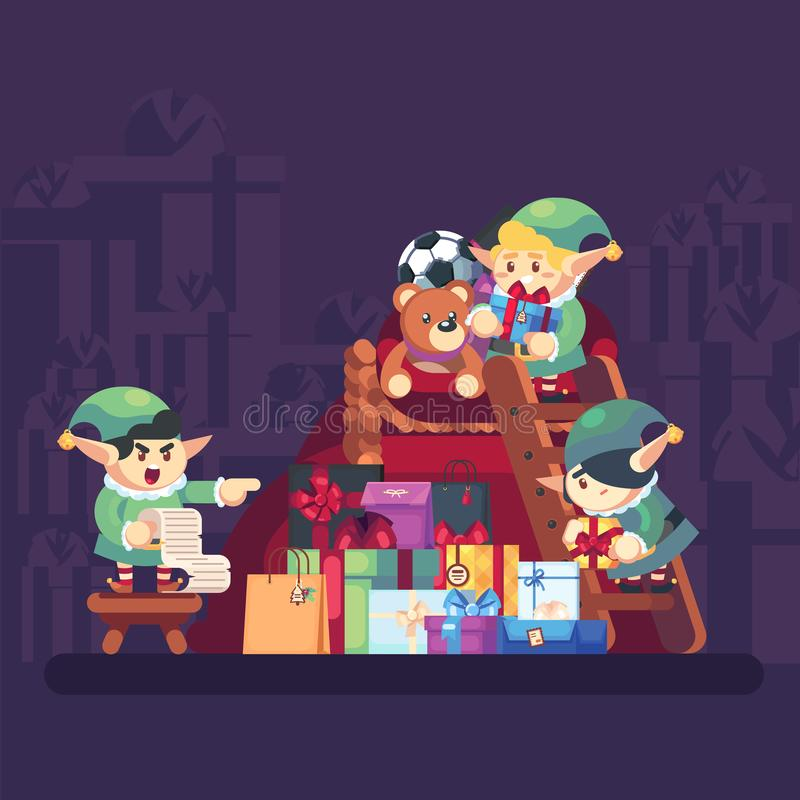 Elf carrying present into bag with gifts Merry Christmas. Funny Santa Claus helper. Cheerful cute elf. Cartoon character. Holding gift box and bag. Vector flat vector illustration