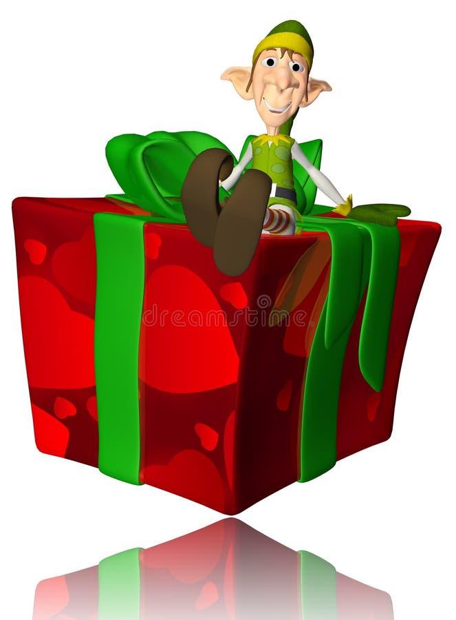 Elf Cartoon On The Present Royalty Free Stock Photos