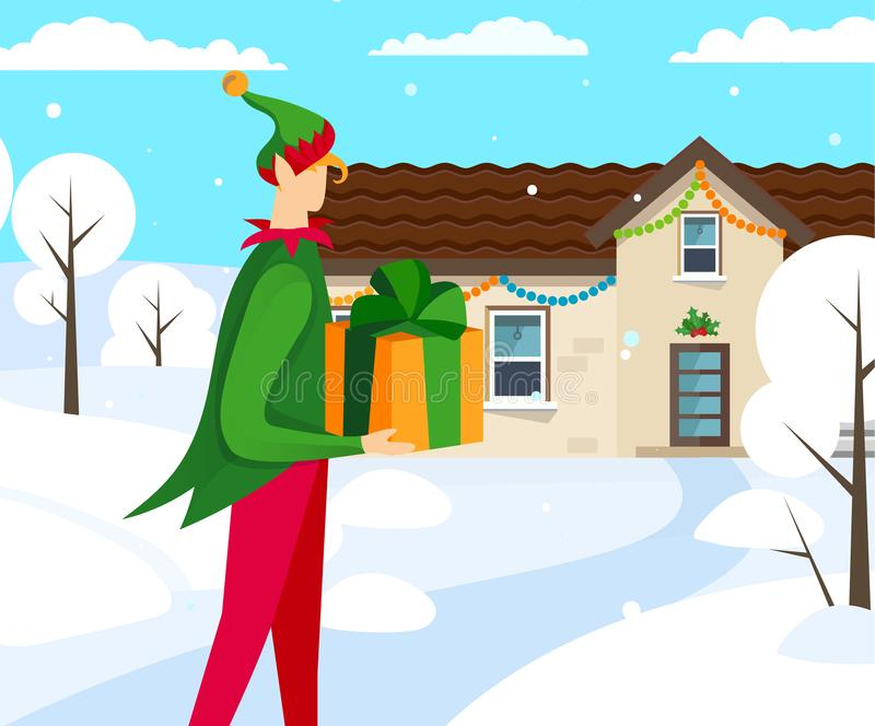 Elf Character Bringing Beautiful Present to House. royalty free illustration