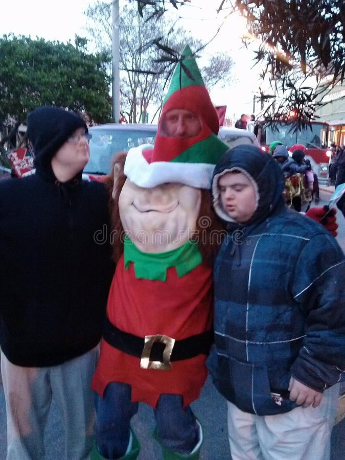 Is it an elf?. Christmas parade and pics with Santa's elf stock image