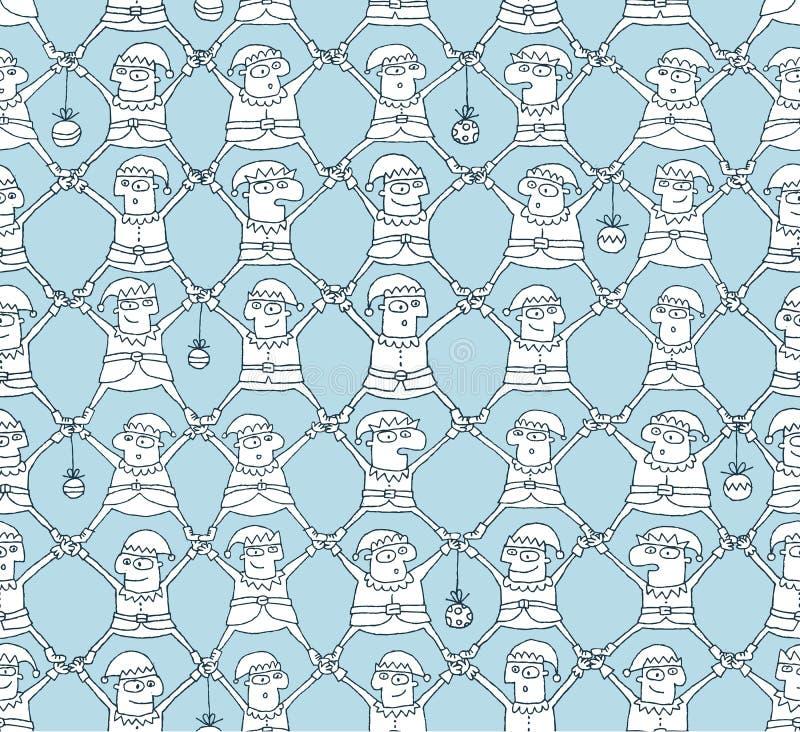Elf Christmas Pattern: black and white vector illustration