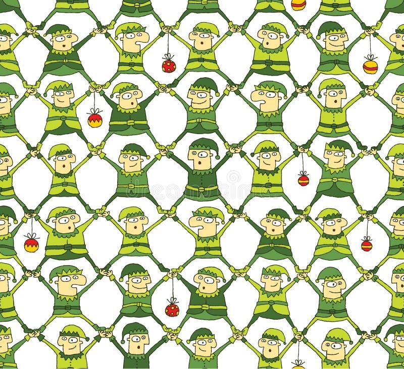 Elf Christmas Pattern in green version vector illustration