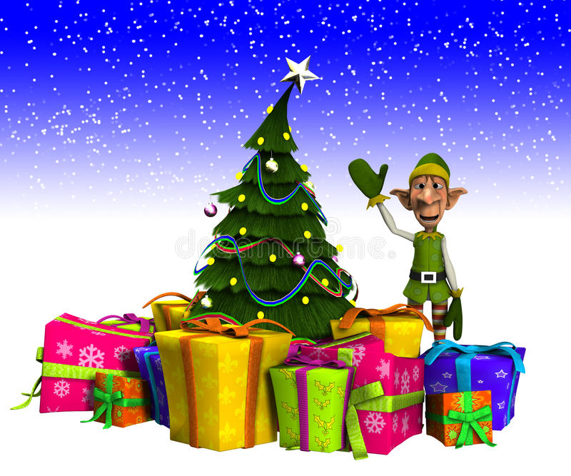 Download Elf And Christmas Tree With Snow Stock Image - Image: 28002469