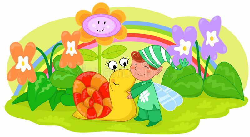 Download Elf With Cute Snail And Flowers Stock Vector - Illustration: 19662091