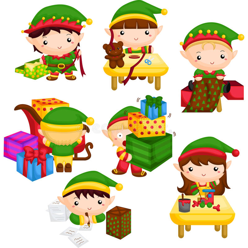 Elf dans l'atelier de Santa illustration stock