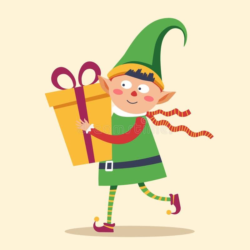 Elf dans la précipitation pour livrer le boîte-cadeau à Noël d'enfant illustration stock