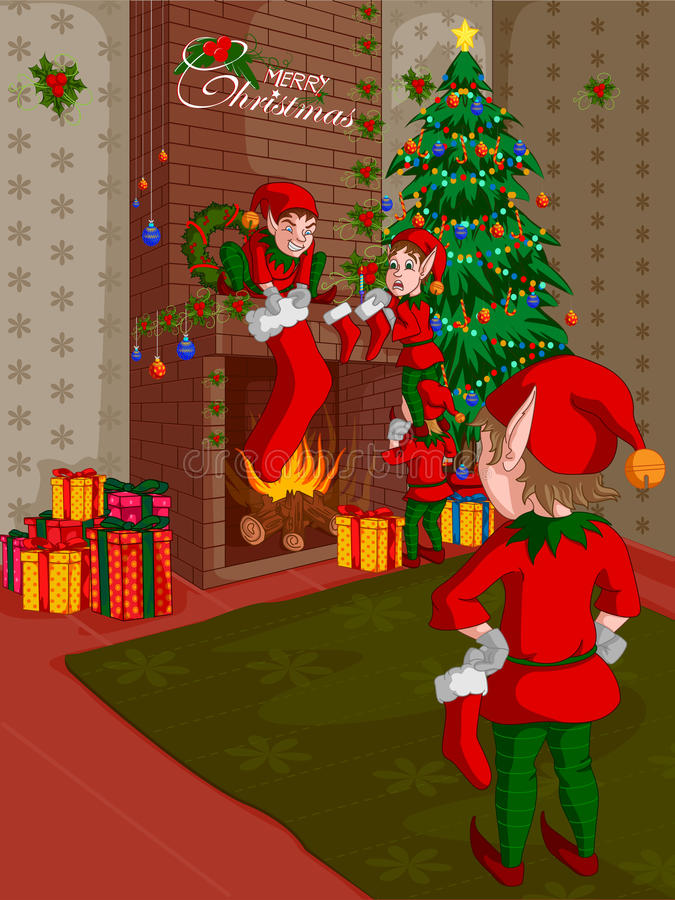 Elf decorating fireplace in Merry Christmas holiday background stock illustration