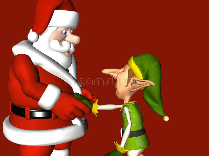 Elf, der Hände mit Sankt rüttelt lizenzfreie abbildung