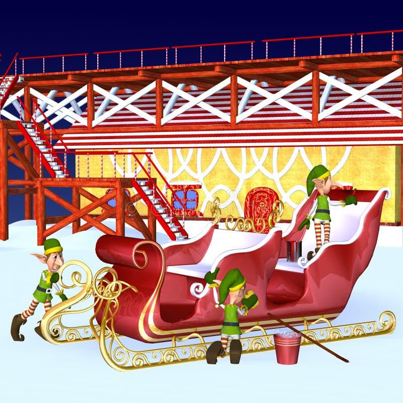 Elf die de Ar van de Kerstman detailleren royalty-vrije illustratie