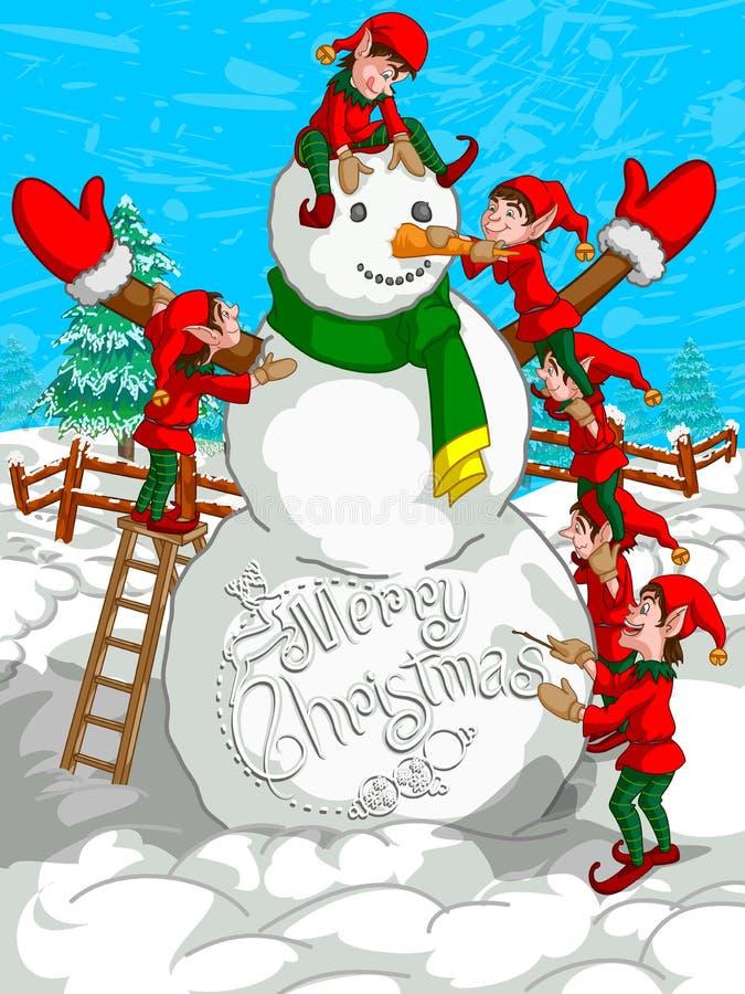 Elf die Sneeuwman op de Vrolijke achtergrond van de Kerstmisvakantie maken stock illustratie