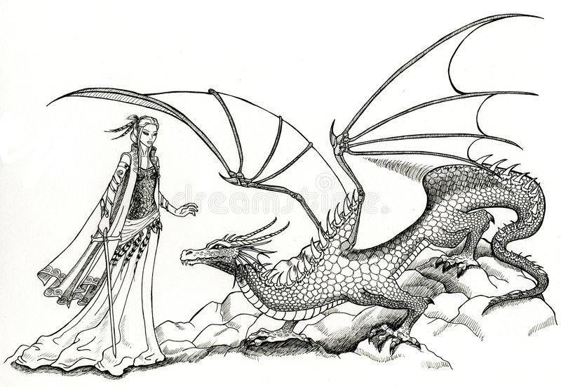 Elf and Dragon. A black and white drawing of a beautiful elven lady and a friendly dragon. This artwork was created manually with ink on illustration board. No stock illustration