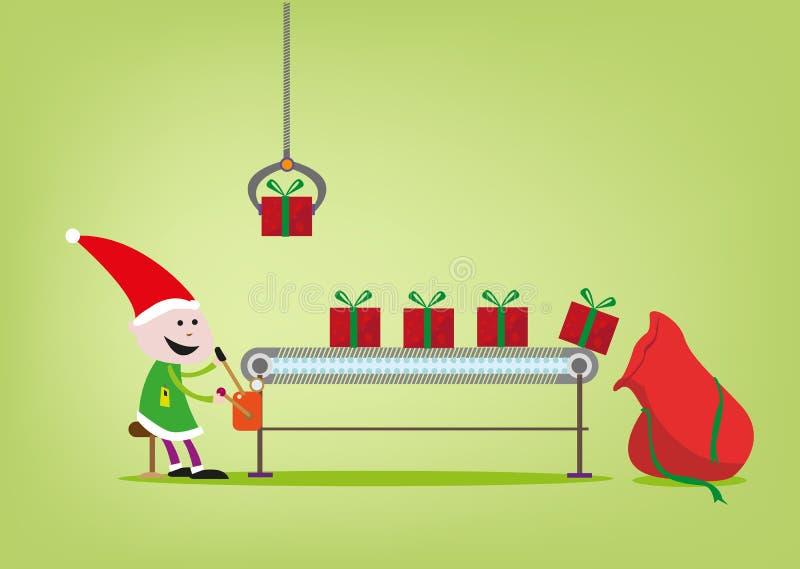 Elf działa linię montażową dla Święty Mikołaj giftgiving fabryki ilustracja wektor