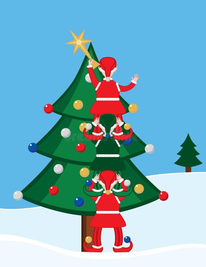 Elf en Kerstboom vector illustratie