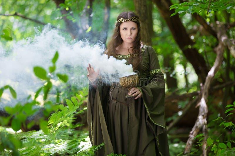 Elf exécutant des charmes dans la forêt photos libres de droits