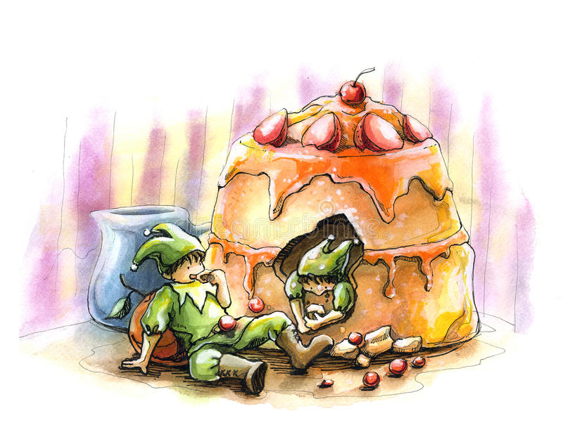 Elf fairytale holiday party cake watercolor illust. Our desert turn to be a huge party of elf and fairy. water color paint on paper stock illustration