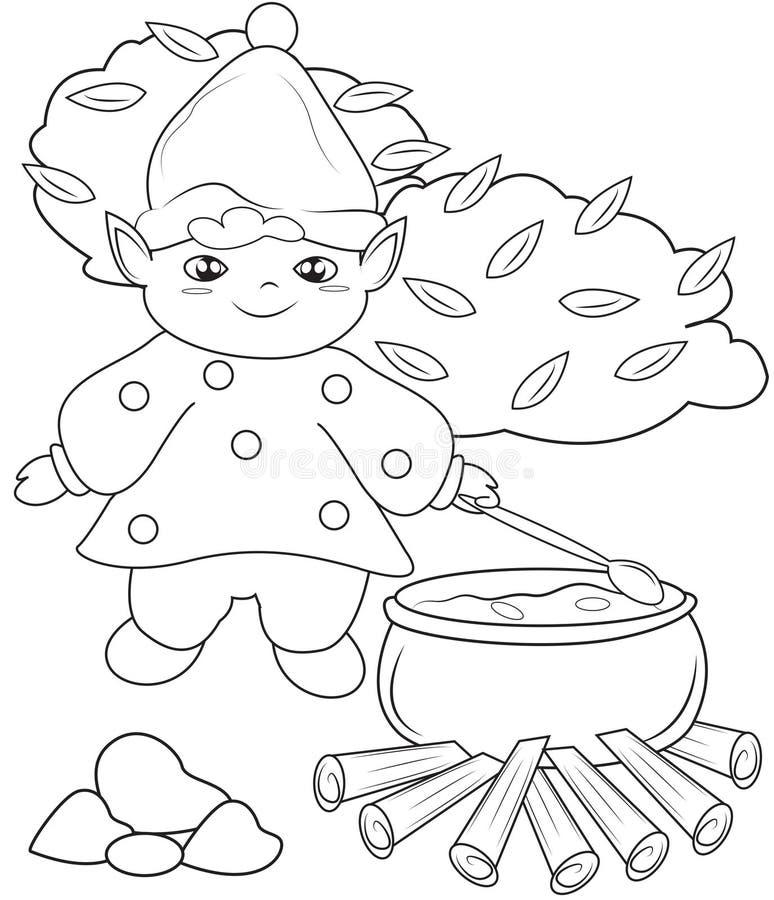 Elf faisant cuire la page de coloration illustration stock
