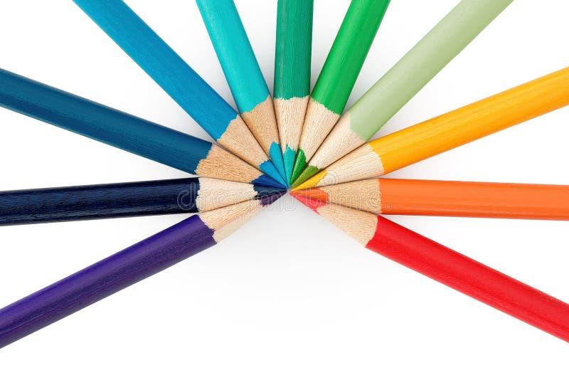 Elf farbige Bleistifte stockfotografie
