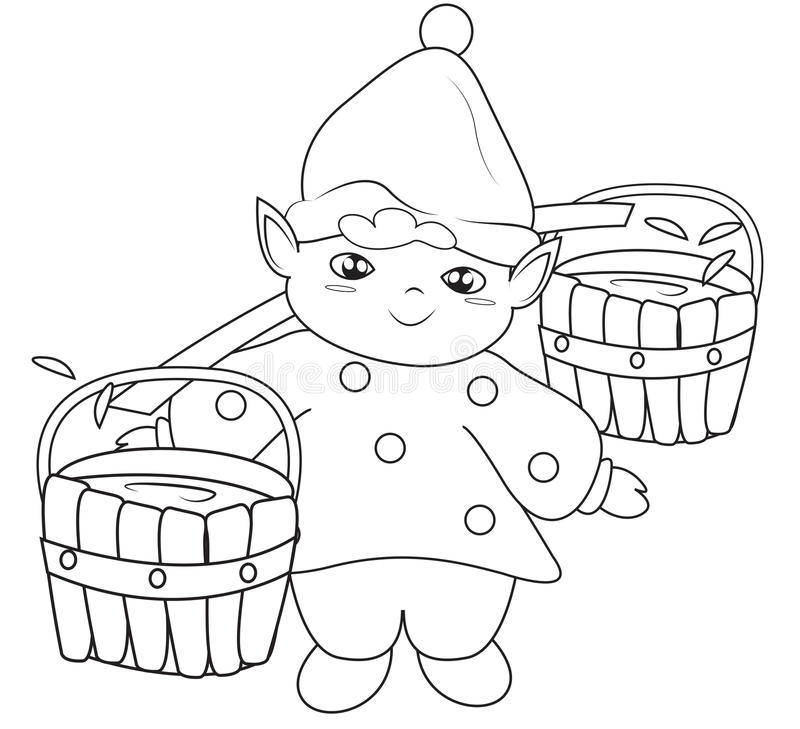 Elf Fetching Water Coloring Page Stock Illustration - Illustration ...