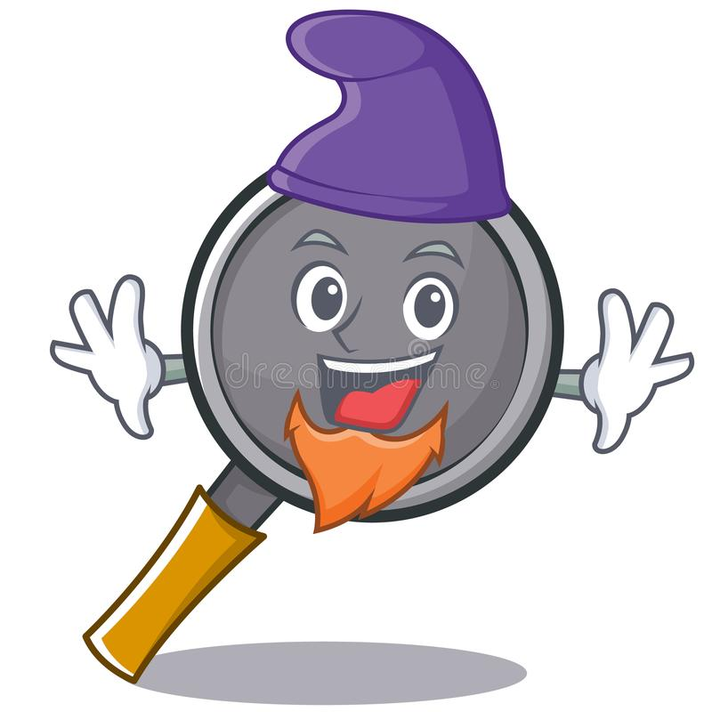 Elf frying pan cartoon character. Vector illustration royalty free illustration
