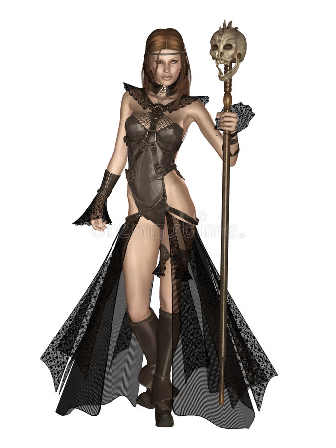Elf girl 2. 3D render of an elf girl with a skull staff stock illustration