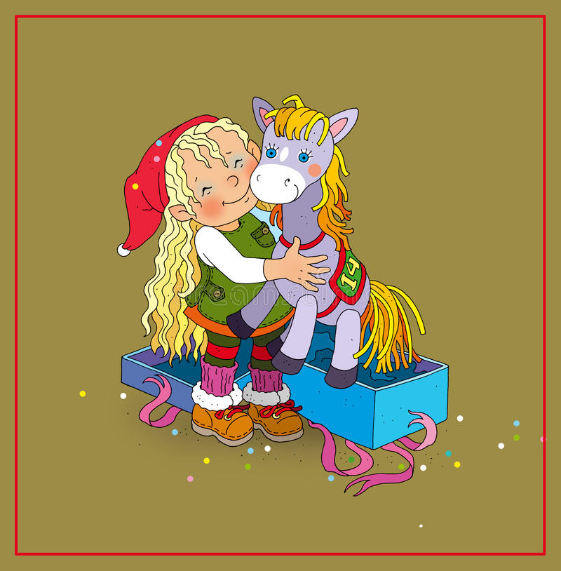 Elf girl received the gift of a toy horse vector illustration