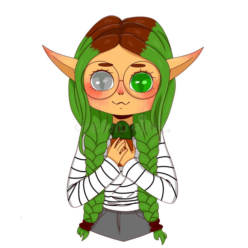 Green-eyed Elf with green hair stock illustration