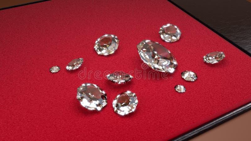 Elf Grote Witte Diamanten op een Rood en Leerdienblad royalty-vrije illustratie