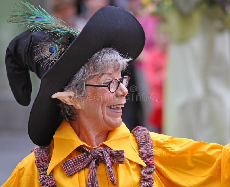 Elf hat. Sibiu city - center avenue - in middle Romania, Transylvania land is now host of International Festival of Theater May 25th - June 3rd 2012 stock photos