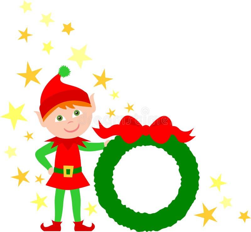 Elf-Holding-WeihnachtsWreath lizenzfreie abbildung