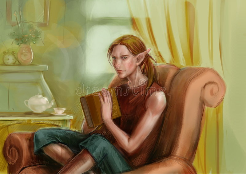 Elf at home royalty free stock image