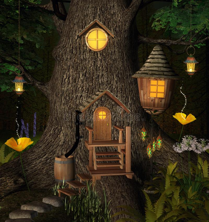 Bizarre elf home in the enchanted forest. Elf house with lanterns inside an old trunk – 3D illustration vector illustration