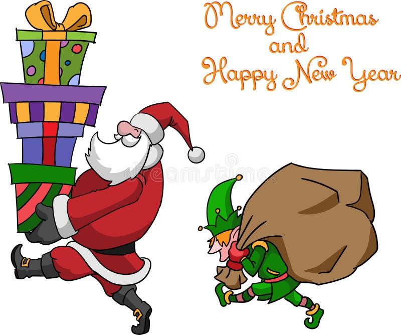 Elf i Święty Mikołaj obraz stock