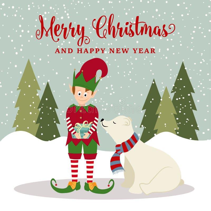 Elf i niedźwiedź polarny royalty ilustracja
