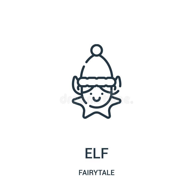 elf ikony wektor od bajki kolekcji Cienka kreskowa elfa konturu ikony wektoru ilustracja ilustracja wektor